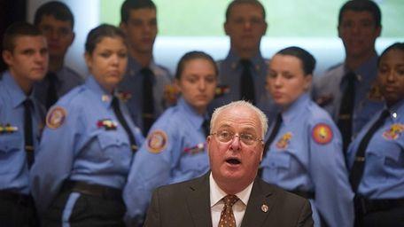 Nassau County Police Commissioner Thomas Dale addressing the