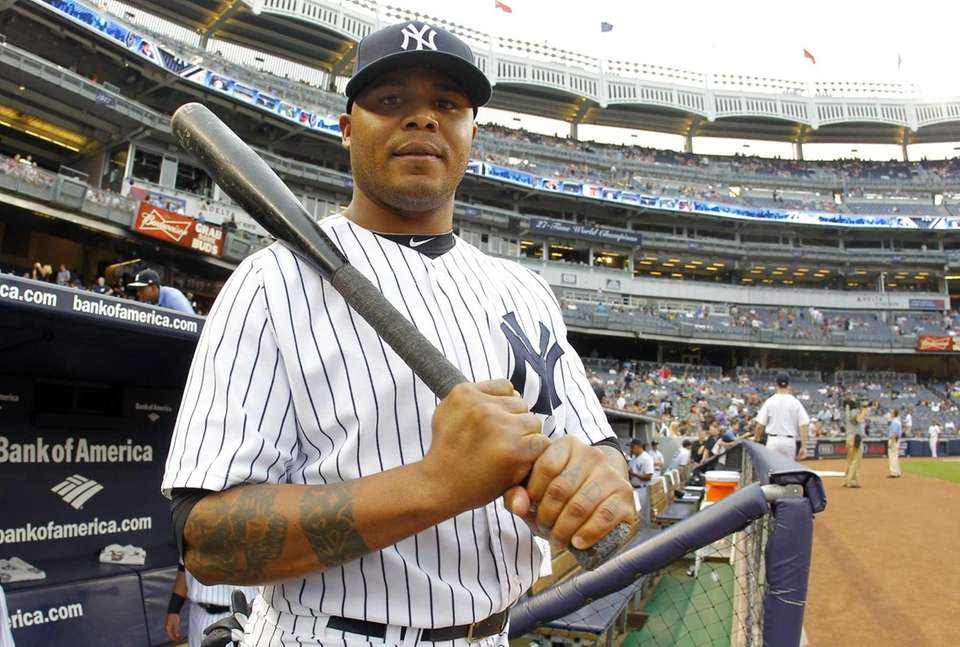 Andruw Jones looks on during a game against