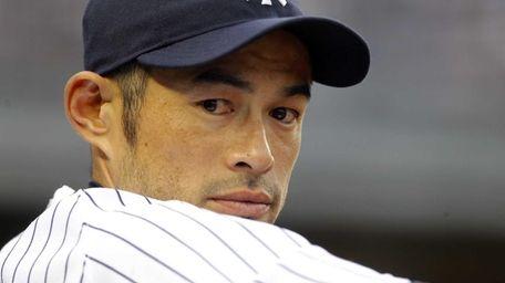 Ichiro Suzuki looks on during a game against