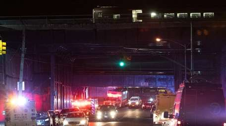 Emergency crews respond to a train derailment at