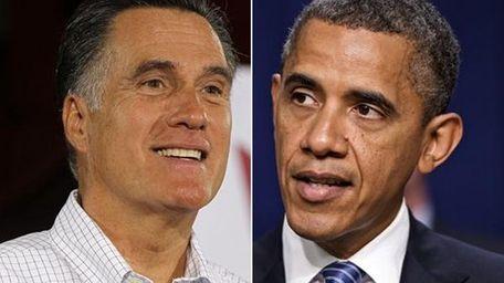 On the left, Mitt Romney talks to reporters