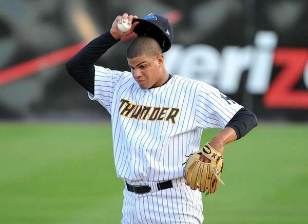 Trenton Thunder pitcher Dellin Betances looks on during