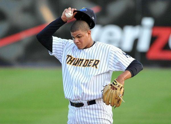 Trenton Thunder pitcher Dellin Betances looks on during