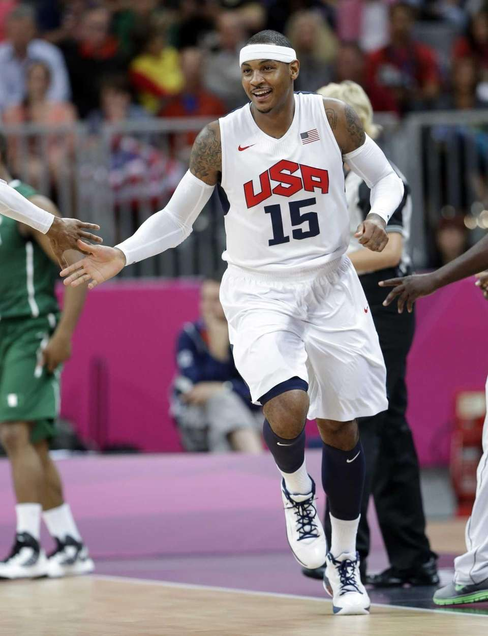 USA's Carmelo Anthony celebrates a score against Nigeria