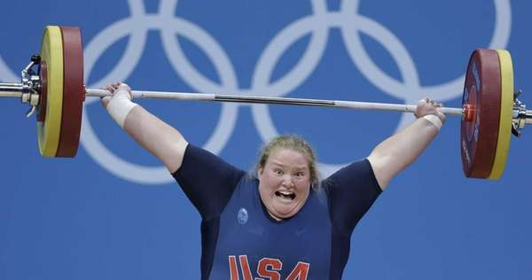 United States' Holley Mangold competes during women's +75-kg,