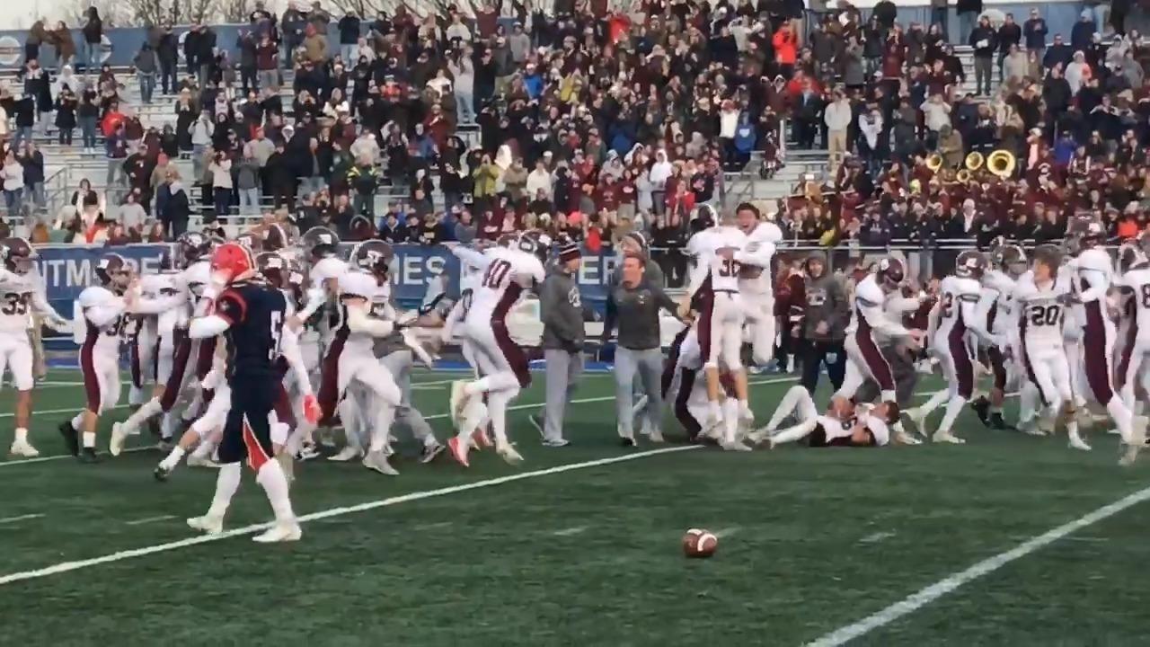 Chase Gardi, a senior, kicking the winning field