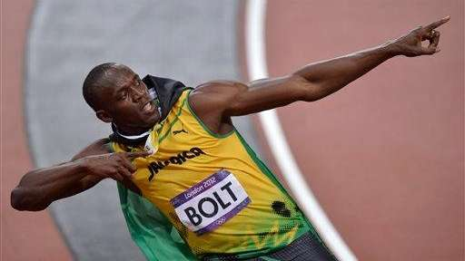 Jamaica's Usain Bolt celebrates after winning the 100-meter