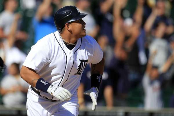 Detroit Tigers' Miguel Cabrera watches his walkoff home