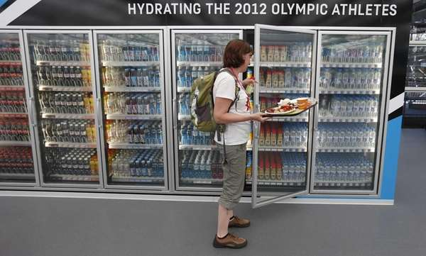 A Canadian team member peruses the beverage options