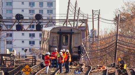 LIRR crews make repairs near Jamaica Station Saturday