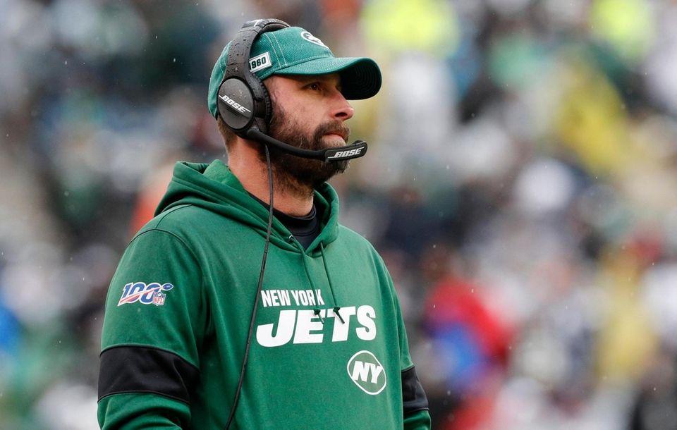 Jets head coach Adam Gase looks on in