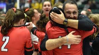 Connetquot varsity girls volleyball head coach Justin Hertz