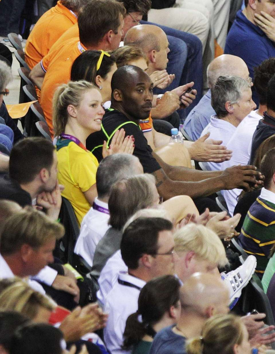Kobe Bryant watches track cycling in the velodrome