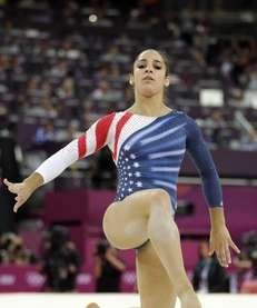 U.S. gymnast Alexandra Raisman performs during the artistic