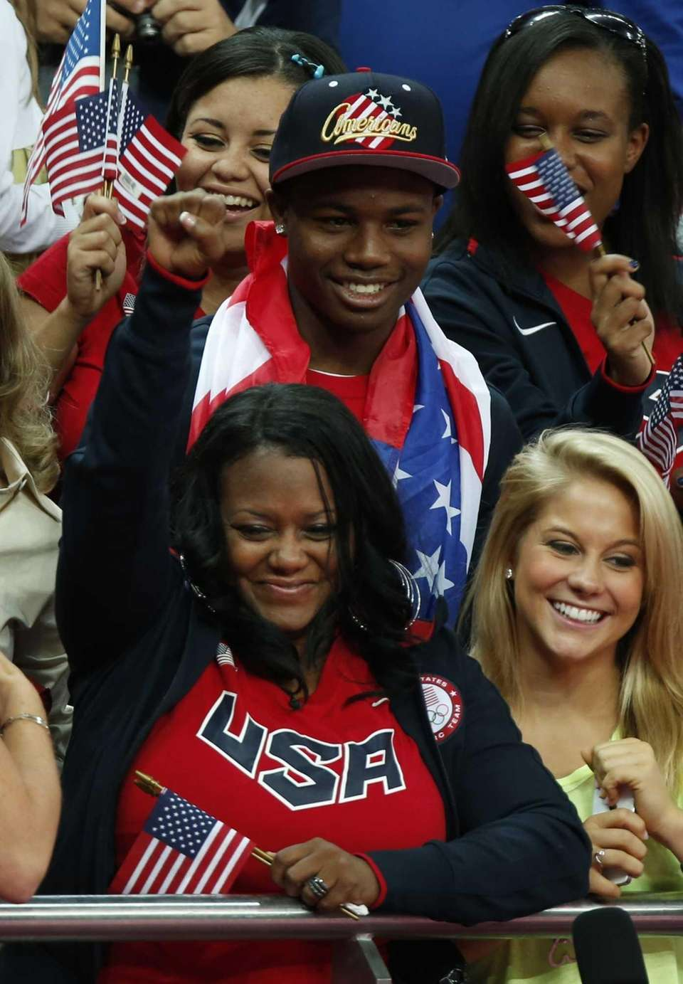 Natalie Hawkins, bottom left, mother of U.S. gymnast