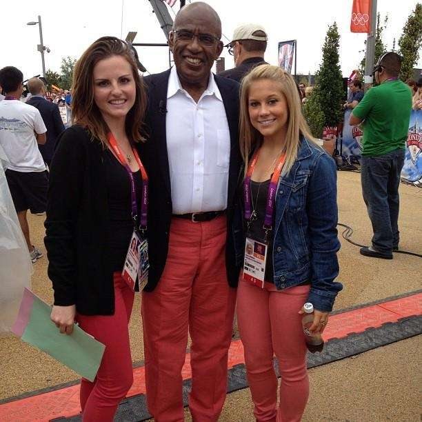 Al Roker, center, poses with Shawn Johnson, right,