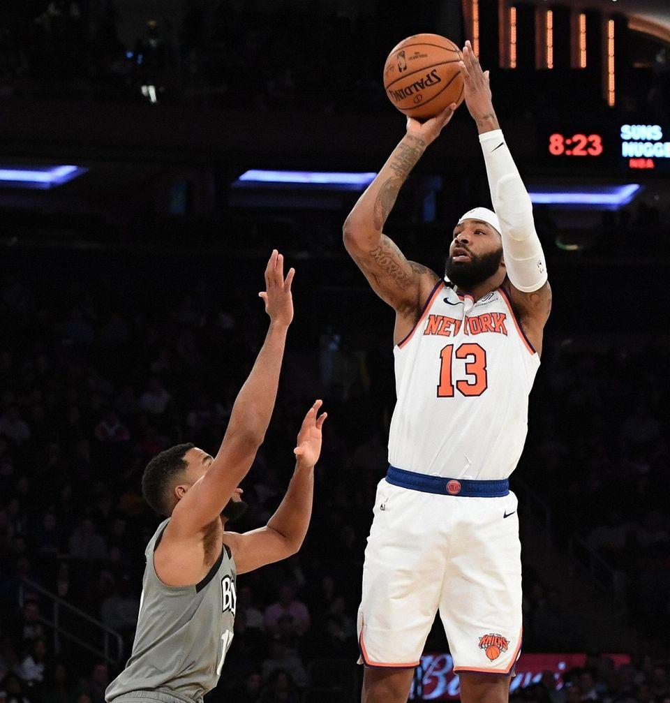 New York Knicks forward Marcus Morris Sr. shoots