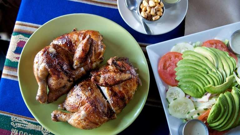 The rotisserie chicken at Los Andes Restaurant in