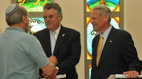 From left: Congressmen Peter King and Steve Israel,