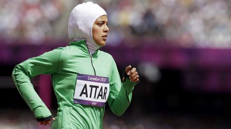 Saudi Arabia's Sarah Attar competes in a women's