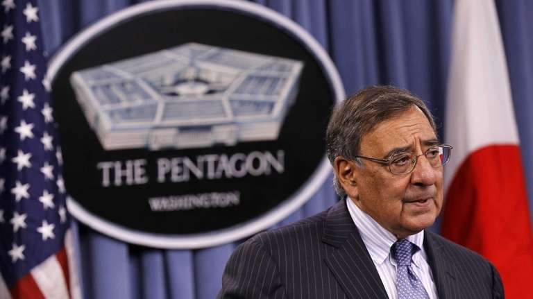 Defense Secretary Leon Panetta speaks during a news
