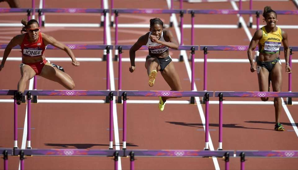 United States' Lolo Jones, left, Canada's Phylicia George,