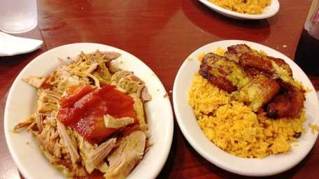 The pernil (pork) and rice with fried sweet