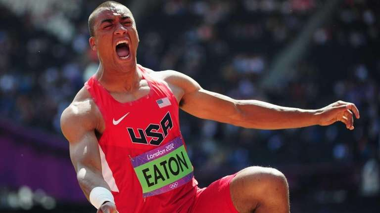 Ashton Eaton of the United States reacts after