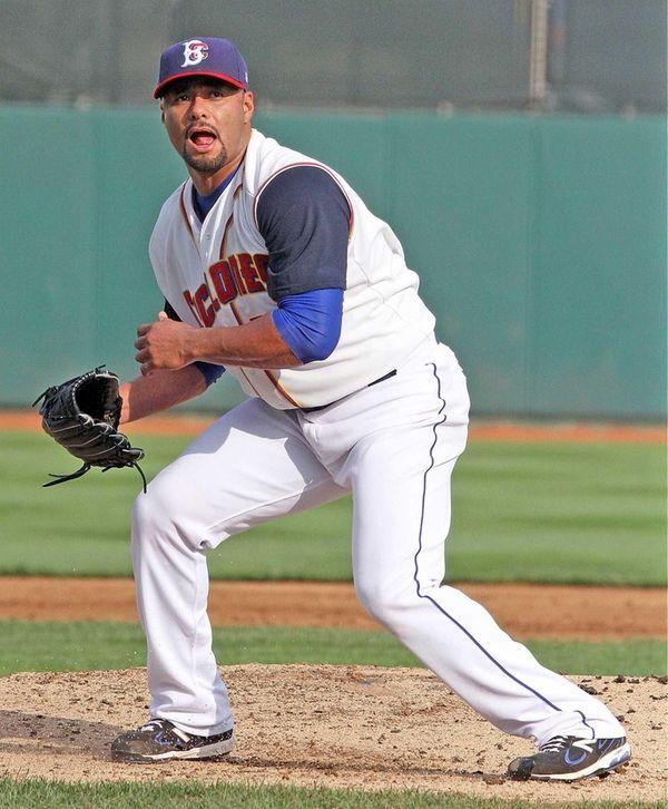 Mets pitcher Johan Santana looks for a call