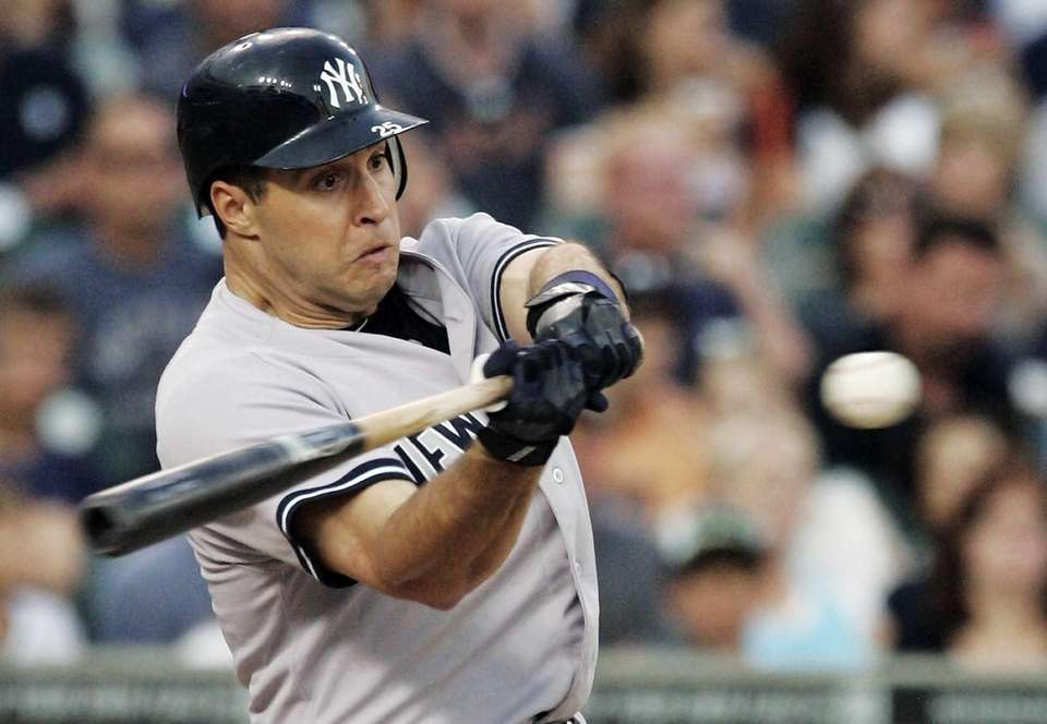 Mark Teixeira hits a sacrifice fly to center