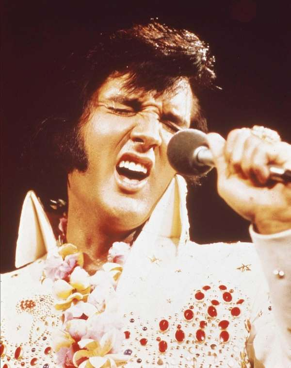 Photo of Elvis Presley performing live onstage at