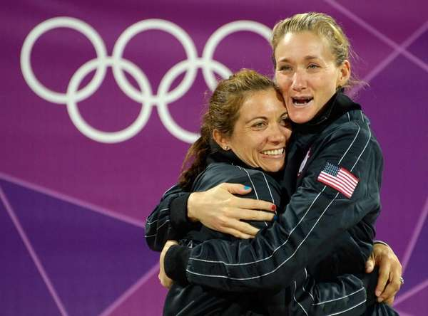 Misty May-Treanor (L) and Kerri Walsh from USA