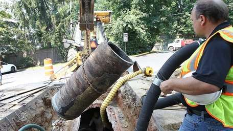Crews hired by Westchester County repair a sewer