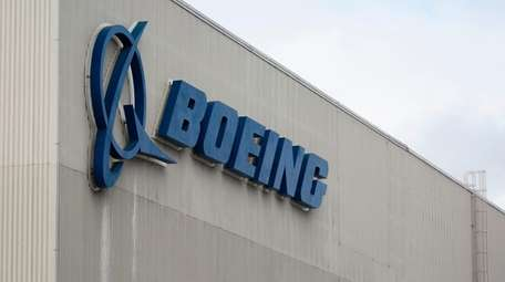 The Boeing logo is pictured at the Boeing