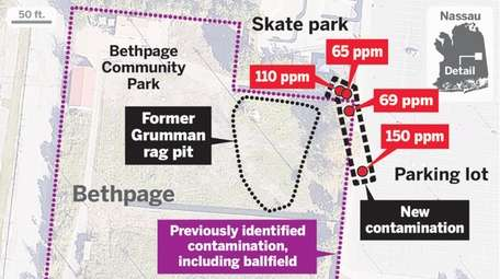 A graphic map of the Bethpage Plume. PPM
