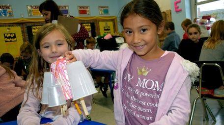 Wantagh Elementary School third-graders Daniella Astaiza (left) and