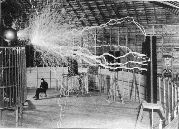 Nikola Tesla's Colorado Springs laboratory in 1899.
