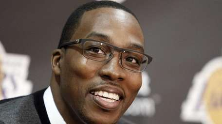 Center Dwight Howard, newly acquired by the Los