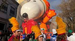 Participants in the Macy's Thanksgiving Day Parade assemble