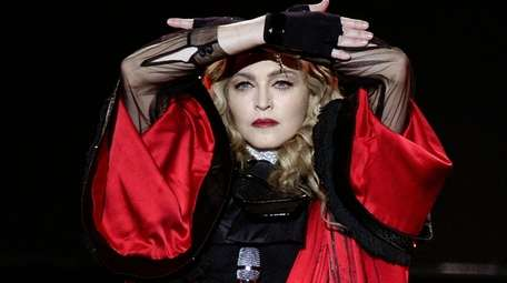 Madonna performs on stage during a Rebel Heart