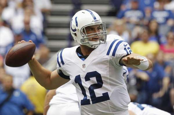 Indianapolis Colts quarterback Andrew Luck passes for his