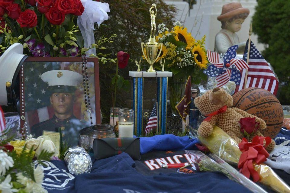 A partial view of a memorial set up