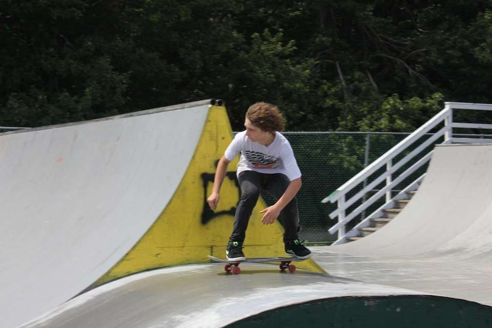 Dale Norklun, 15, of Southold, skates against other