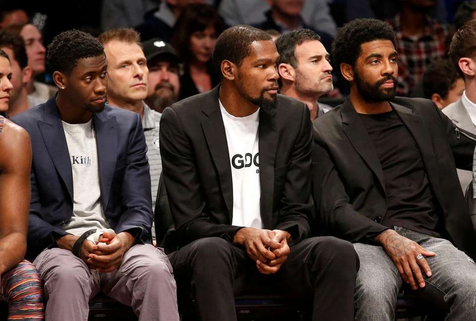 (L-R) Caris LeVert #22, Kevin Durant #7 and