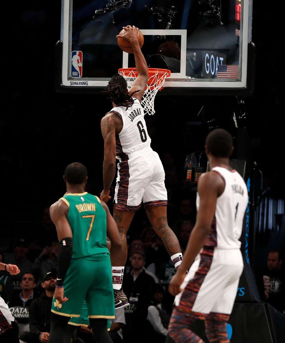 DeAndre Jordan #6 of the Brooklyn Nets dunks