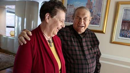 Michael Goldstein, 88, right, with his newly discovered