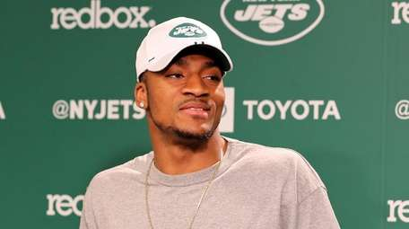 Jets rookie Blessuan Austin speaks at the rookie