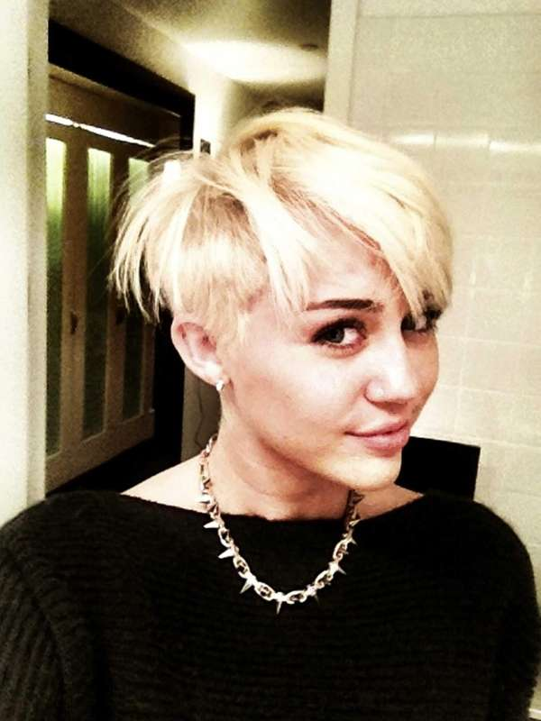 Miley Cyrus sports a new, short cut.