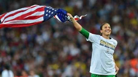 Hope Solo celebrates after the final of the