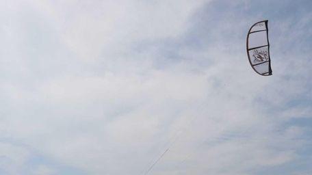 Kiteboarder Joe Decunzo tries to catch enough wind